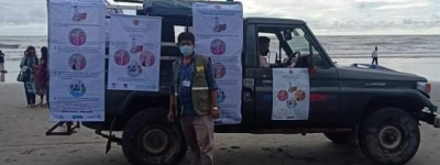 Beach Campaign on COVID-19 awareness by ACLAB -Radio Naf 99.2 fm , supported by UNICEF